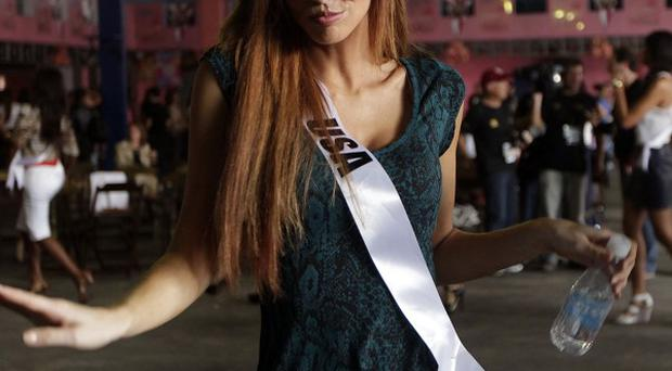 Miss USA Alyssa Campanella poses for a picture during a visit to a samba school in Sao Paulo, Brazil (AP)