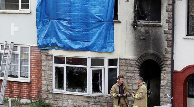 The scene of the fire in Chatman, Kent, where a young mother and her baby son died