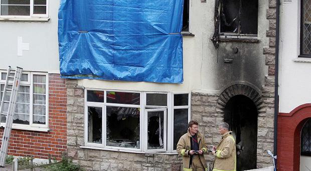The scene of the fire in Chatham, Kent, where a young mother and her baby son died