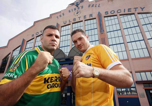 World ranked heavyweights Nick Firtha and Tyson Fury in their native GAA county shirts come face-to-face at the King's Hall yesterday