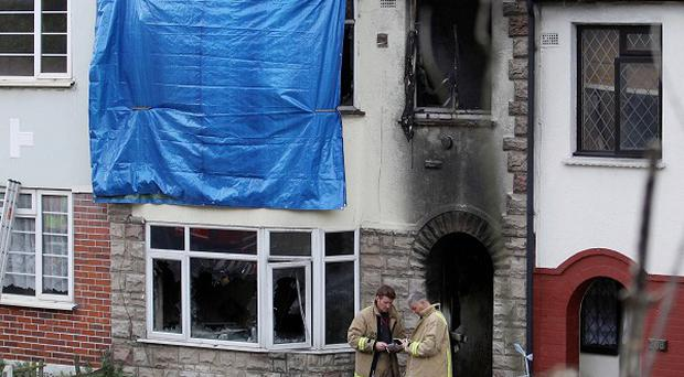 The scene of a fatal fire where Melissa Crook, 20, and her son Noah died in Chatham, Kent