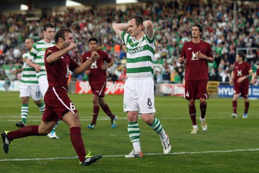 Shamrock Rovers' Stephen O'Donnell reacts after missing a penalty