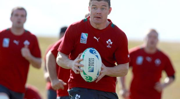 Captain Brian O'Driscoll trains ahead of Ireland's game against Australia tomorrow