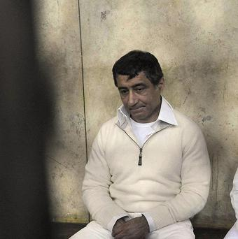 Ahmed Ezz appears in the Cairo Criminal Court in Cairo, Egypt (AP)