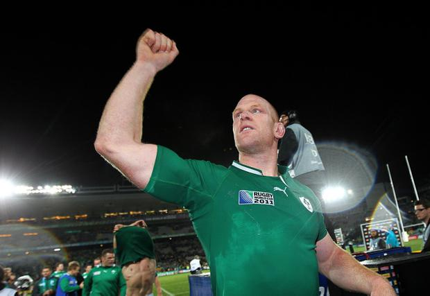 Ireland's Paul O'Connell celebrates after the IRB Rugby World Cup match at Eden Park, Auckland, New Zealand
