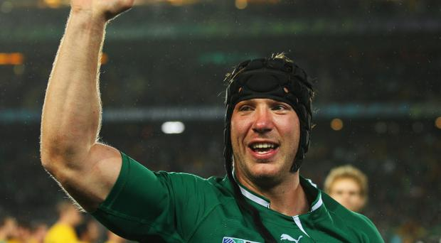 AUCKLAND, NEW ZEALAND - SEPTEMBER 17: Stephen Ferris of Ireland celebrates victory after the IRB 2011 Rugby World Cup Pool C match between Australia and Ireland at Eden Park on September 17, 2011 in Auckland, New Zealand. (Photo by Cameron Spencer/Getty Images)