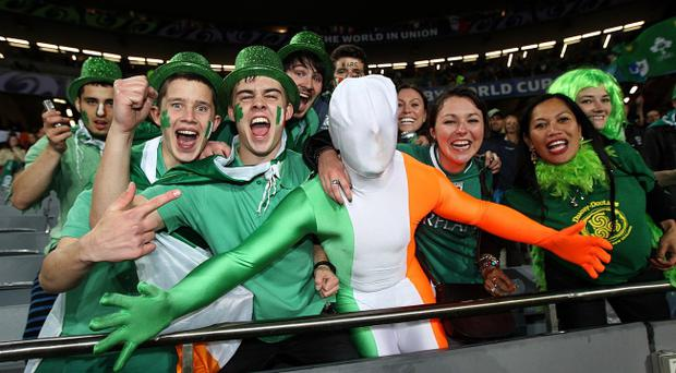 Ireland fans celebrate in the stands during the IRB Rugby World Cup match at Eden Park, Auckland, New Zealand