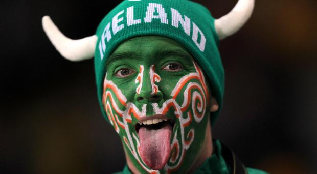 An Ireland fan in the stands during the IRB Rugby World Cup match at Eden Park, Auckland, New Zealand