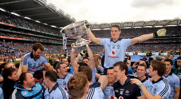 Dublin's Dermot Connolly celebrates with his team