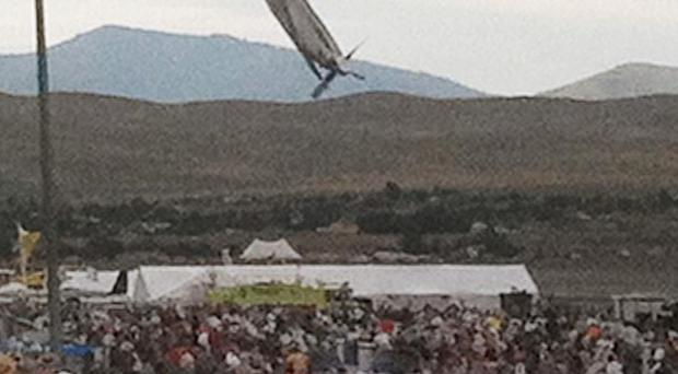 A P-51 Mustang approaches the ground immediately before crashing during an air show in Reno, Nevada (AP)