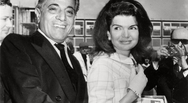 Jackie And Onassis Caption: 18th October 1968: Millionaire shipping magnate Aristotle Onassis (1906 - 1975) with his wife Jackie (Bouvier Kennedy, 1929 - 1994). (Photo by Central Press/Getty Images) Date created: 18 Oct 1968
