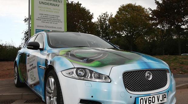 A Jaguar car outside i54, the site north of Wolverhampton announced as the location for the new Jaguar Land Rover engine plant