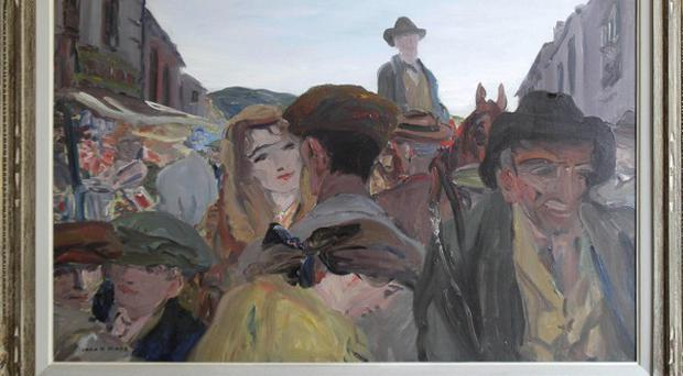 Jack B Yeats's painting A Fair Day, Mayo is due to fetch up to 800,000 euro at auction