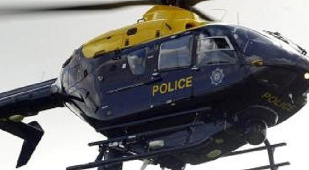 Police are investigating after a laser beam was shone at a force helicopter in Belfast