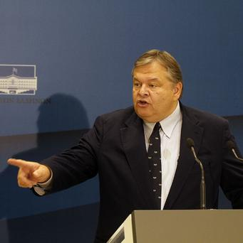 Greece's finance minister Evengalos Venizelos has set a target of achieving a primary budget surplus in 2012 (AP)