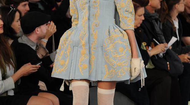 LONDON, UNITED KINGDOM - SEPTEMBER 20: A model walks down the catwalk during the Meadham Kirchhoff Runway show at London Fashion Week Spring/Summer 2012 on September 20, 2011 in London, United Kingdom. (Photo by Stuart Wilson/Getty Images)