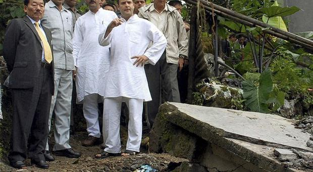 Congress party leader Rahul Gandhi visits the earthquake effected area of Lumsay in Gangtok, India, on Wednesday (AP Photo)
