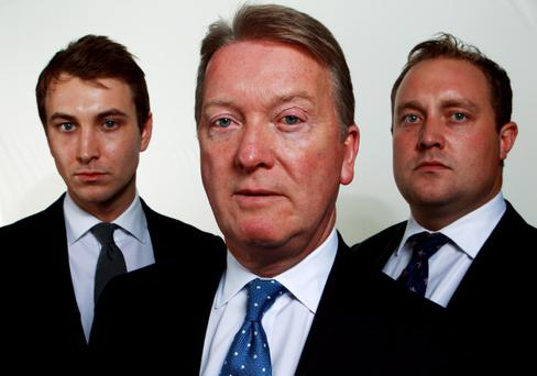Frank Warren and sons Francis and George at yesterday's press conference to announce the new television station BoxNation