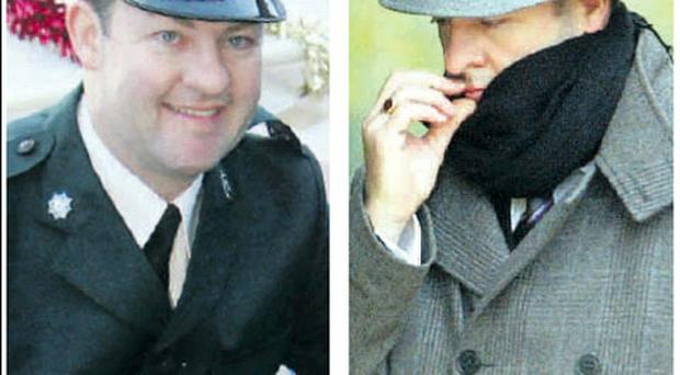 Chris Murdoch in his PSNI uniform, and (right) outside the court
