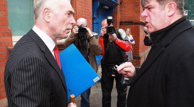 Head of the Disappeared investigation team Geoff Knupfer (left) speaks with Det Inspector Joseph Crowe