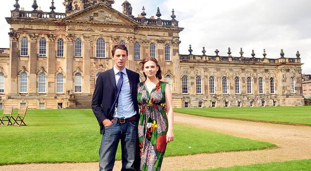 Brideshead Revistited actors Matthew Goode and Hayley Atwell in front of Castle Howard