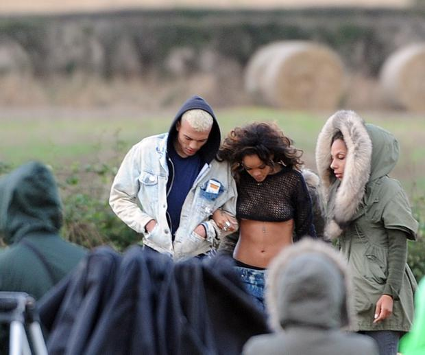 Flashback ... Rihanna causes a storm with topless shoot in North Down field