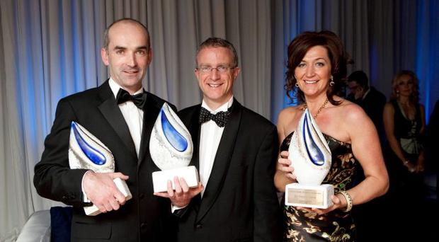 Conor Walsh of Andor and Grainne Kelly of BubbleBum celebrated their successes in last year's awards. They are pictured with Ian Jordan of Ulster Bank. Andor was named the overall winner and won the International Business Award. BubbleBum won the Best Business Start-up Award