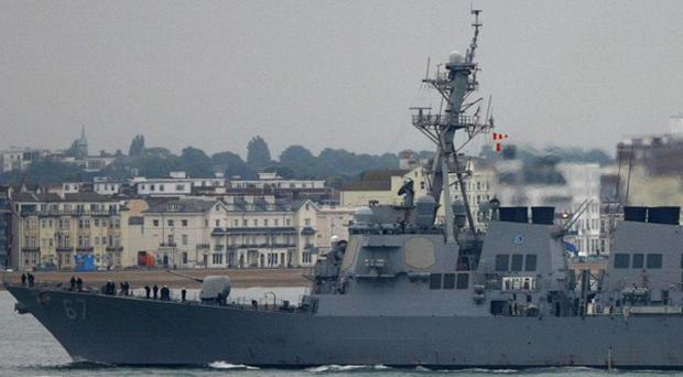 The American warship USS Cole in Portsmouth