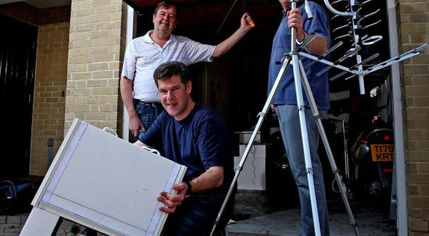 John Burch, left, Mark Newby-Robson and Kevin Godfrey, plan to launch a home-made space probe