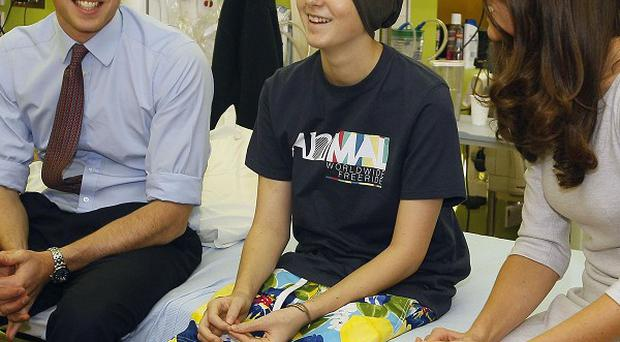 The Duke and Duchess of Cambridge meet patient Digby Davidson, 14, at the new Oak Centre for Children and Young People