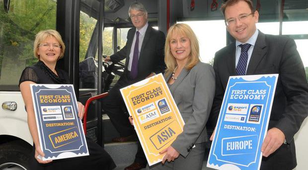 At the Export First Thought Leadership event are (from left) Ruth Graham, Northern Bank; Mark Nodder, Wrightbus Group Managing Director; Caroline Keenan, ASM and Peter Stafford, A&L Goodbody