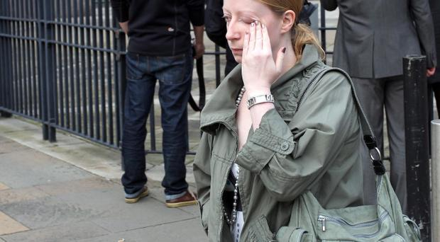 Caroline Barnes leaving court yesterday