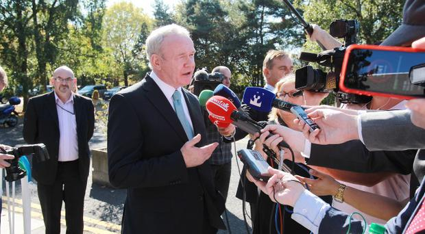 Martin McGuinness speaks to journalists in Dublin