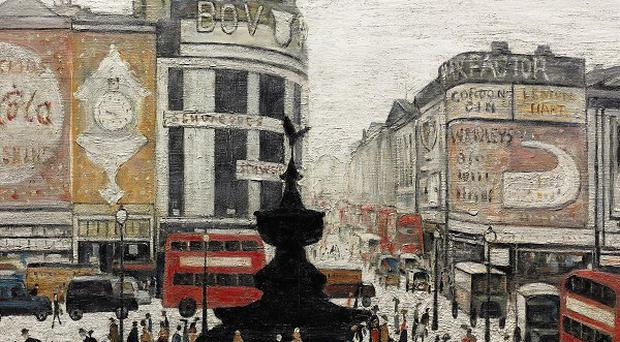 A Lowry painting of London's bustling Piccadilly Circus could fetch up to six million pounds at auction