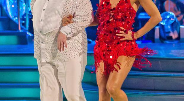 Russell and Flavia dancing the cha cha to Venus by Bananarama during a dress rehearsal for the show.