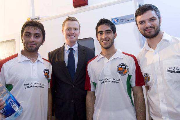 UAE drivers Mohammed Al Dhaheri (left) and Mohammed Al Mutawaa with Dr David Hassan of the University of Ulster's School of Sports Studies and Stuart Murray from Star Driver