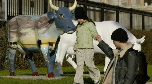 Cow Parade outside the National Gallery in London