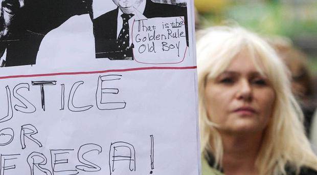 Supporters of jailed Co Offaly woman Teresa Treacy picket ESB's offices at St Stephens Green in Dublin