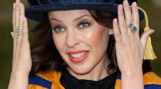 Singer Kylie Minogue arrives at Anglia Ruskin University before receiving an honorary degree