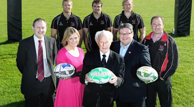 Attending the launch of the Belfast Telegraph Sports Awards 2011 are (front row, from left) Telegraph Sports Editor, Steven Beacom, Maeve McKeefry, Brand Manager, Linwoods, legendary Irish rugby star Jack Kyle, Dominic Walsh, Chairman of Sport Northern Ireland and Ulster Director of Rugby David Humphreys. Pictured behind are Ulster players Chris Henry, Jared Payne and Mike McCornish