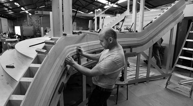 Paul Kearns, principal joiner at Oldtown Joinery, works on the authentic near-replica of RMS Titanics ornate Grand Starcase