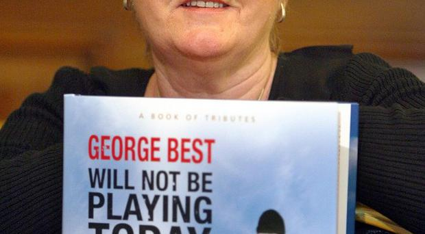 Barbara McNarry, the sister of George Best, at the launch of a new book of tributes to the football legend in Belfast