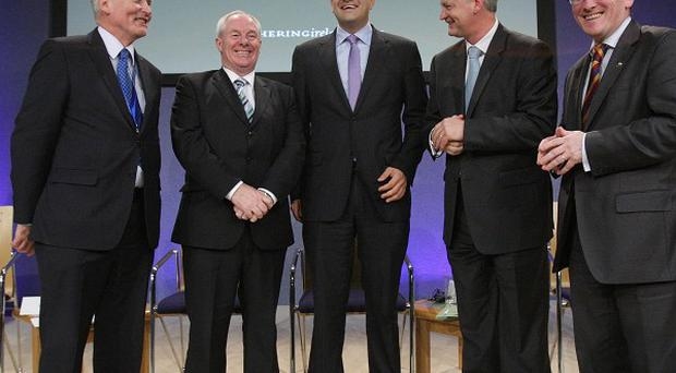 Tim O'Connor, Michael Ring, Leo Varadkar, Shaun Quinn and Niall Gibbons attend the launch of a major tourism drive