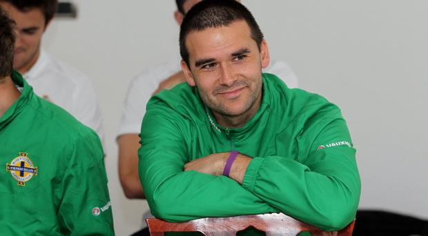 Northern Ireland's David Healy pictured with the rest of the team as at Sunday's press conference in a sign of solidarity ahead of Tuesday night's Euro 2012 qualifier against Italy in the Stadio Adriatico, Pescara