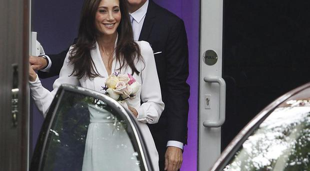 Nancy Shevell with Sir Paul McCartney leaving his house in north London to get married in London
