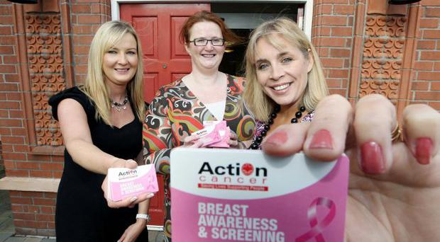 TV presenter Tina Campbell launches Action Cancer's new breast check guide with Joanna Currie, consultant radiographer for Action Cancer (centre) and Fiona McQuillan from Breast Cancer Awareness Month partner, Gordons Chemists