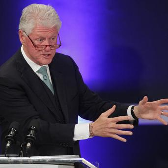 Former US president Bill Clinton joined hundreds of influential figures for a forum at Dublin Castle