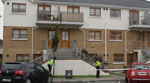 Police at the scene where five people were stabbed at a house party at Deer Park Avenue in Tallaght, Dublin