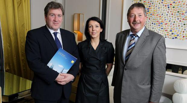 Finance Minister Sammy Wilson met Angus Potterton, managing director of commercial property agents Savills Ireland and Anne-Marie Lonergan, director of Savills Belfast, at a business breakfast to discuss the extension of the small business rates relief scheme and the large retailer levy. A consultation on the proposals ends next Tuesday