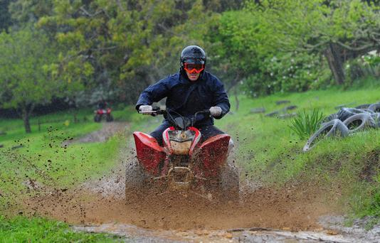 Wales prop Paul James enjoys some quad biking through Woodhill Forest ahead of their game against France
